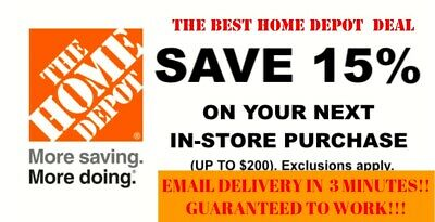 ONE 1X 15% OFF Home Depot Coupon - Instore ONLY Save up to $200 - Fast Shipment
