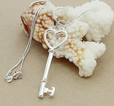 925 Sterling Silver Fashion Jewelry Key & Heart Pendant with Chain 18,20,22 in.