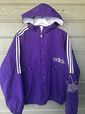 Vintage Adidas Puffer Jacket Coat Purple White Mens Large Zipper Front Trefoil