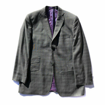 d978ceea7acf8f Ted Baker Endurance Men s Gray Pick Stitching Dual Vents Wool Suit Jacket  40R