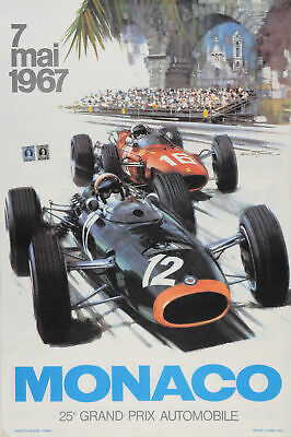 Vintage LATE PRINT Poster for 25th Grand Prix de Monaco Race by Turner 1967