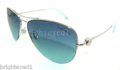 31c1ac82a08 Authentic TIFFANY   CO. Silver Aviator Sunglasses TF 3021 - 60029S  NEW   57mm