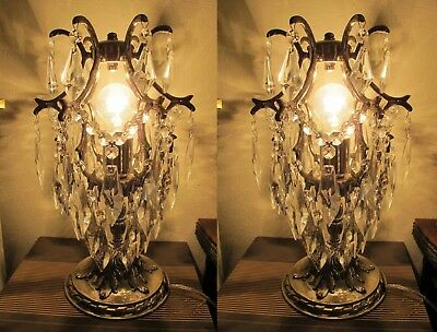 PAIR OF Antique Vintage silver plated Cage Style Crystal Table Lamp 1940's.9 in.
