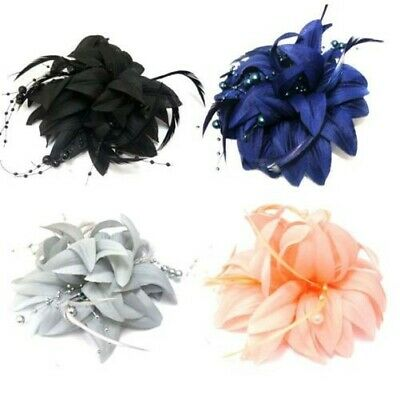 Stunning Fabric Flower Fascinator with Feathers & Pearl Beads Forked Clip Brooch