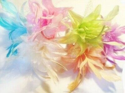 Pastel Coloured Feather Flower Fascinator on an Alice Band Full Range Available