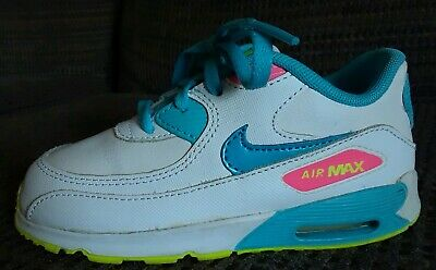 the best attitude 3b5d0 55cdc NIKE AIR MAX 90 LTR White Pink Blue Yellow Kids Toddler Baby Girls TD Shoes  10 C