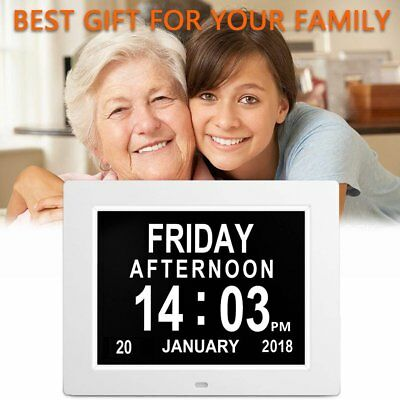 "8"" White LED Dementia Digital Calendar Clock Large Letter Week/Month/Ye♒♍"