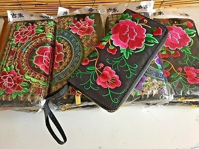 Bulk lot of 4 embroidered wallets.3 compartments.8 c/card 1 coin .Wrist strap.