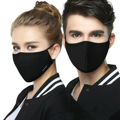 Black Fog-free Glasses Face Mask Washable Cotton Anti-Dust Mouth Respirator new