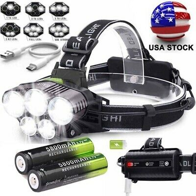 Super Bright 90000LM 5 X T6 LED Headlamp Headlight Flashlight Head Torch 18650