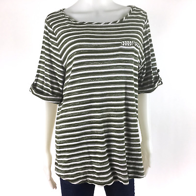 Croft & Barrow Women's Size 1X Top Brown Green White Striped Roll-Up Sleeve