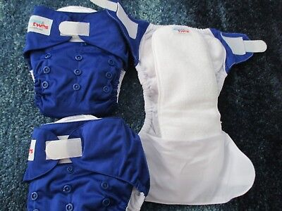 3 x NEW Baby Cloth Nappies Diapers BLUE newborn to18Kg Ones & Twos New + Liner