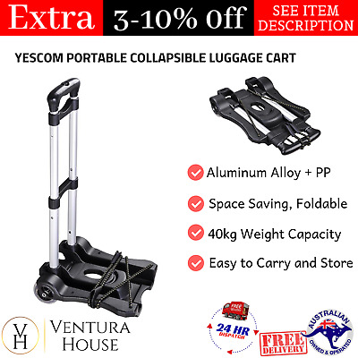 Portable Folding Trolley Baggage Cart Collapsible Trolley Carry on Luggage Cart