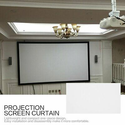 40-120 Inch 16:9 Projection Screen Curtain Non-Woven Fabric White Soft AZ