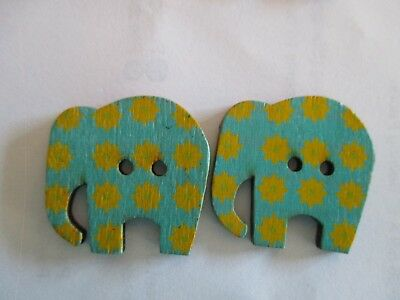 2 x 30mm Wooden BUTTONS - ELEPHANTS - Blue - Sewing or Scrapbooking No1304