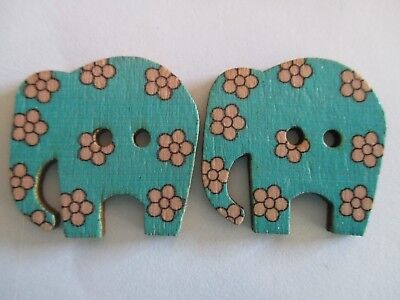 2 x 30mm Wooden BUTTONS - ELEPHANTS - Blue - Sewing or Scrapbooking No1300