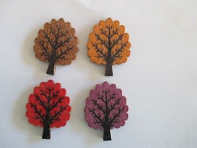 4 of  30mm x 25mm Wooden TREE BUTTONS - Mixed Col  Sewing or Scrapbooking No1312