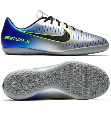 f39a3aba12589 Nike Jr MercurialX Victory VI Neymar IC kids indoor Soccer Shoes Blue  silver 2y