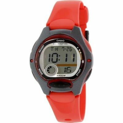 ✅ Casio Women's Quartz Gray Dual Time Dial Red Resin Band 35mm Watch LW200-4AV