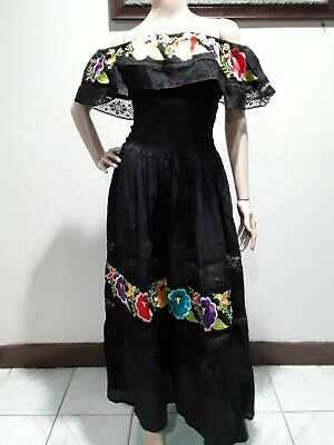 60ede4ced4a73 ASSORTED MEXICAN DRESS CROCHET Embroidered PEASANT Vintage ONE SIZE Fits M