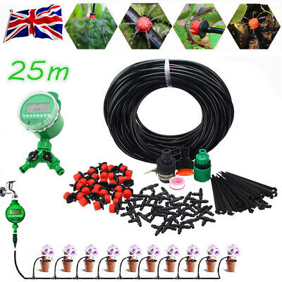 25M Automatic Drip Irrigation System Kit Two Water Outlet Sprinkler Auto Timer