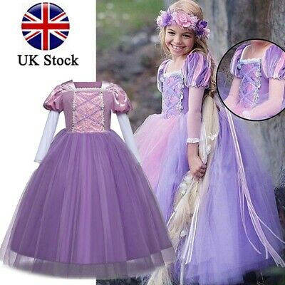 Kids Princess Sofia Rapunzel Dress Fancy Costume Cosplay Party Tulle Prom Gowns