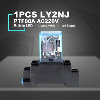AC 220V Coil Power Relay LY2NJ DPDT 8 Pin JQX-13F Swtich Control Socket Base ❃⚡✤