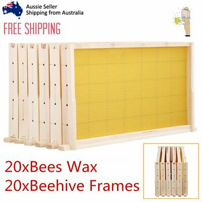 20 Pack Bees Wax Foundation & 20 Alliance Pine Beehive Frames Beekeeping Combo