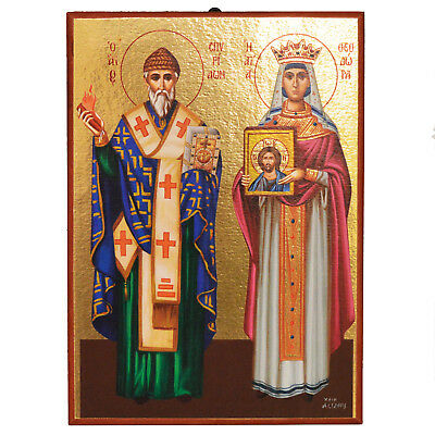 Greek Russian Orthodox Icon Lithograph Saint Spyridon Saint Theodora 18x25cm