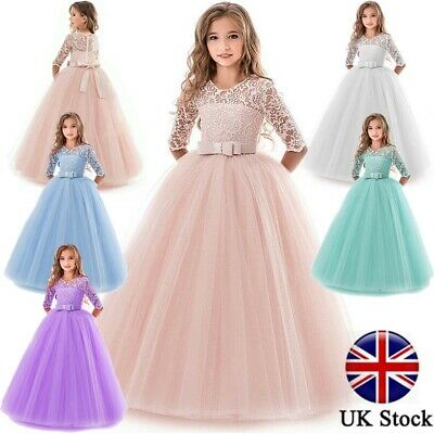 Flower Girl Dress Princess Party Wedding Bridesmaid Formal Gown Kid Long Dresses