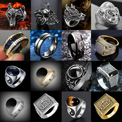 Mens Stainless Steel Gothic Punk Biker Rings Motorcycle Championship Band Ring