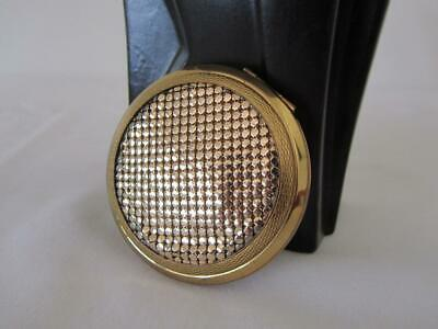 Vintage Gold Mesh POWDER COMPACT Hinged Purse Mirror
