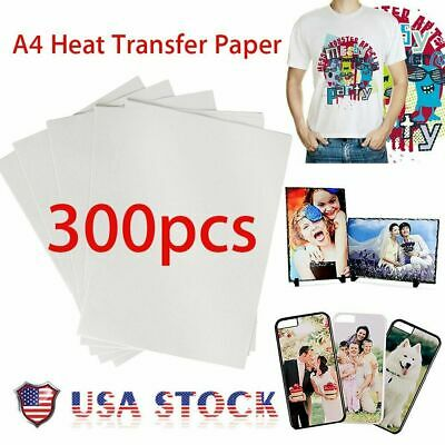 300X A4 Sublimation Iron On Heat Transfer Paper for inkjet Printer Mug T-shirt M