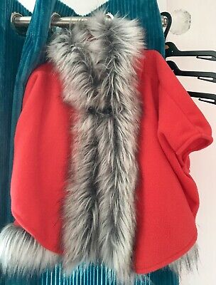 Red Girls Dress And Hooded Cape With Grey Fur Trim