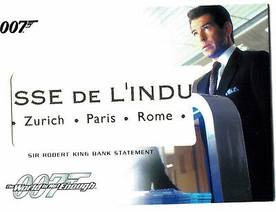 The Complete James Bond Relic Prop Card RC7 Sir Robert King Bank Statement