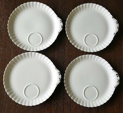 ROYAL ALBERT Chantilly SNACK PLATES  white, silver trim - SET OF 4