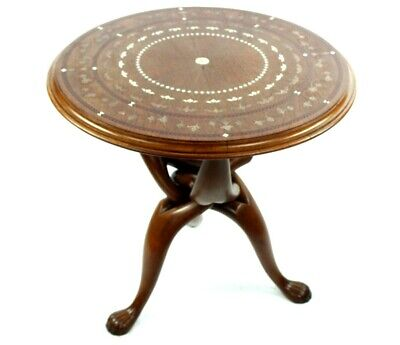 Antique Anglo Indian Ebony Bone and Brass Inlaid Tea Table [PL4958]
