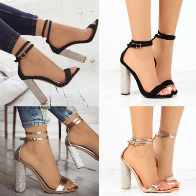 8a0e5213f81 Women Sequin Block High Heels Strappy Sandals Party Clubwear Open Toe Shoes  Size