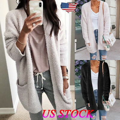 Womens Ladies Long Sleeve Cardigans Chunky Knitted Coat Outwear Jumper Pocket