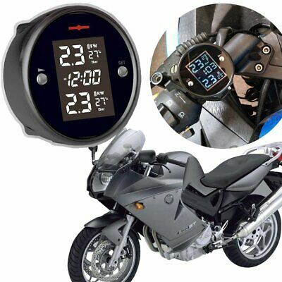 Motorcycle TPMS Tire Pressure Monitor System 2-sensor Wireless LCD Display☼~♌