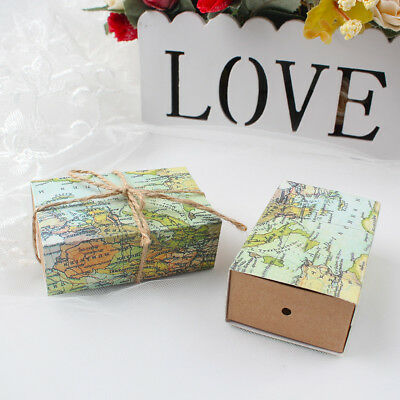 100x Vintage Kraft Map World Candy Box Travel Theme Wedding Favors Gift Boxes