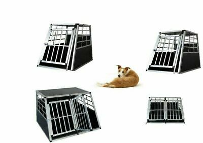Dog Pet Puppy Aluminium Cage Transport Crate Car Travel Carrier Box Kennel UK