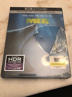 The Meg Steelbook (4K Ultra HD + Blu-Ray + Digital, 2018)  New . Wrap Damaged