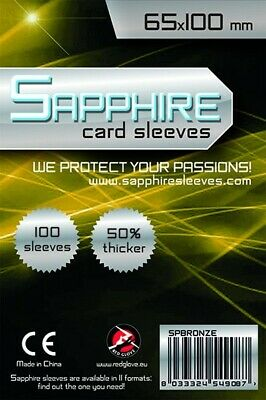100 BUSTINE PROTETTIVE Sapphire BRONZE card sleeves 65 x 100 mm RED GLOVE 50% pi