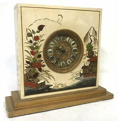 Lovely Large Square Chinoiserie Painted Art Deco Clock