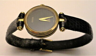 eea81041e Women's Vintage Gucci Watch - Black Leather Gold Round Face New Battery -  WORKS!