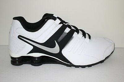 NIKE SHOX CURRENT Men s Leather Running Shoes Wht Blk Cross Trainers 633631  100 3d97baea3