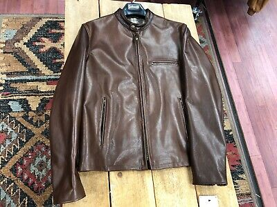 a20afb8f9b6 SCHOTT BROS. NYC Waxed Natural Pebbled Cowhide Café Leather Jacket ...