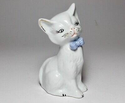 Cute Vintage Collectable 1950's 60's Cat Figure With Blue Bow Tie Ornament