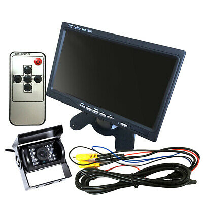 "12V/24V Car Reversing Camera RCA + 7"" LCD Monitor Truck Bus Van Rear View D7B1"